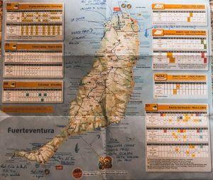 la mappa di fuerteventura con le indicazioni di Ivan