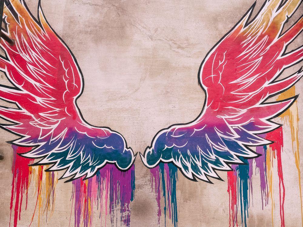 uno dei più bei murales di Dubai, le ali colorate di La Mer
