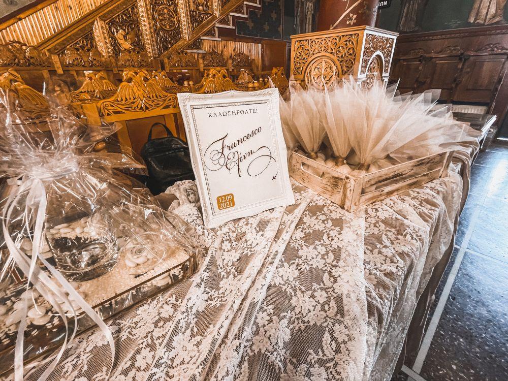 i confetti da donare agli ospiti intervenuti al matrimonio greco ortodosso di Francesco ed Eleni